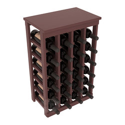24 Bottle Kitchen Wine Rack in Pine with Walnut Stain + Satin Finish - Petite but strong, this small wine rack is the best choice for converting tiny areas into big wine storage. The solid wood top excels as a table for wine accessories, small plants, or whatever benefits the location. Store 2 cases of wine in a space smaller than most televisions!