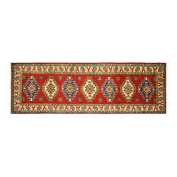 Manhattan Rugs - New HQ Wool HandKnotted Super Kazak 2x7 Crimson Veg Dyed Medallion Art Rug H5882 - Kazak (Kazakh, Kasak, Gazakh, Qazax). The most used spelling today is Qazax but rug people use Kazak so I generally do as well.The areas known as Kazakstan, Chechenya and Shirvan respectively are situated north of  Iran and Afghanistan and to the east of the Caspian sea and are all new Soviet republics.   These rugs are woven by settled Armenians as well as nomadic Kurds, Georgians, Azerbaijanis and Lurs.  Many of the people of Turkoman origin fled to Pakistan when the Russians invaded Afghanistan and most of the rugs are woven close to Peshawar on the Afghan-Pakistan border.There are many design influences and consequently a large variety of motifs of various medallions, diamonds, latch-hooked zig-zags and other geometric shapes.  However, it is the wonderful colours used with rich reds, blues, yellows and greens which make them stand out from other rugs.  The ability of the Caucasian weaver to use dramatic colours and patterns is unequalled in the rug weaving world.  Very hard-wearing rugs as well as being very collectable