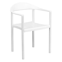 "Flash Furniture - HERCULES Series 1000 lb. Capacity White Plastic Cafe Stack Chair - The Cafe Chair by Flash Furniture will add value and offer an attractive presence to your Cafe, Diner, Restaurant, Banquet Facility or Home. This chair has a curvaceous back, seat and arms that is pleasing to the eye, and offered at an affordable price. This chair not only looks great, but is very durable with a 1000 lb. capacity rating so it will last throughout the years!. Multi-Purpose Plastic Stack Chair; 1000 lb. Static Load Capacity; Stacks 5 Chairs High; White Injection Molded Seat and Back; Curved Contoured Seat; Heavy Duty Metal Leg Construction; White Powder Coated Frame Finish; Plastic Floor Glides; Indoor or Outdoor Dining Chair; Overall dimensions: 21.25""W x 19.5""D x 30.25""H"