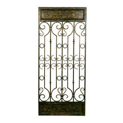 Welcome Home Accents - Aged Bronze Decorative Wall Panel - Aged bronze finished metal wall panel with its wrought iron feel, features an intricate gate-like design that will add a touch of elegance to your living room decor. Use horizontal or vertical. Makes a dramatic wall statement and creates a beautiful focal point in any room desired. Sturdy metal construction. Hooks on back for hanging.