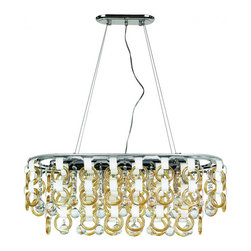 Trans Globe - Trans Globe  Champagne and crystal island pendant in polished chrome - Cast a warm glow in your entryway or living room with this island pendant, showcasing Crystals and champagne rings hang from tiers.
