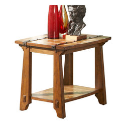 Steve Silver Furniture - Steve Silver Harrison End Table with Display Shelf in Oak - A smaller square version of the Tuscan cocktail table.