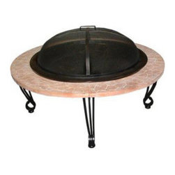 Fire Sense - Fire Sense Cast Iron Rim Stone Finish Fire Pit - Featuring the look of  natural stone, our Cast Iron Rim Stone Finish Fire Pit enhances your outdoor  living area.