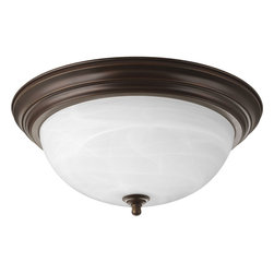 Progress Lighting - Progress Lighting P3926-20 Three-Light Close-To-Ceiling With Alabaster Glass Bow - Three-light flush mount with dome shaped glass, solid trim and decorative knobs.
