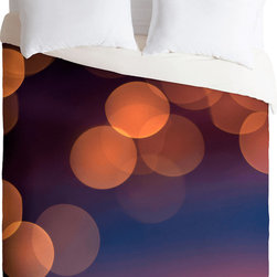 DENY Designs - DENY Designs Bird Wanna Whistle Lights Duvet Cover - In Circles. Forty winks look fabulous with the Bird Wanna Whistle Lights Duvet Cover from DENY Designs. This artist-designed piece boasts bursts of out-of-focus color, and was custom-created using a six-color printing technique that directly dyes the buttery-soft woven front. A cozy cotton-blend on the backside was created for cuddling. Talk about beauty rest! Pillowcases not includedAvailable in multiple sizesZip closureInterior corner tiesCustom printed for every orderWoven polyester front / cotton-polyester backMachine washableDesigned by Bird Wanna WhistleMade in the USAShips in 1 week