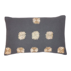 JITI - Small Sufi Charcoal Pillow - Small, embroidered medallions pop against the darker background like stars in the sky. This pillow will dazzle just as much on your sofa, or even on your soft cotton bedspread.