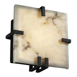 Justice Design Group - Justice Design Group FAL-5550 Clips ADA Compliant Square Wall Sconce from the Lu - Justice Design Group FAL-5550 Clips ADA Compliant Square Wall Sconce from the LumenAria CollectionThe LumenAria� Collection offers the look of genuine carved alabaster without the cost. These faux alabaster fixtures combine many of your favorite Justice Design Group, LLC shapes with the warmth and beauty of an alabaster glow.From an elegant lamp atop a contemporary end table to a dramatic sconce illuminating a formal entryway, Justice Design offers a wide array of lighting solutions for residential and commercial settings. Create a mood, complement a theme, or simply add the perfect accent with a Justice Design decorative lighting fixture.