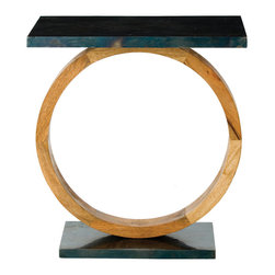 Kathy Kuo Home - Caleigh Modern Natural Wax Wood Oxidized Iron Clad Side Table - Crafted from natural finished wood and oxidized iron, the earth element dominates this striking table to beautiful effect.  Reminiscent of sculptors like Brancusi and Noguchi, the use of negative space has never created such a positive reaction.
