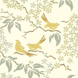 Birds Wallpaper, Pale Yellow - I love this studio-printed wallpaper design and muted colorway. It's perfect for a dining room, bedroom or foyer.