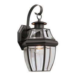 Sea Gull Lighting - Sea Gull Lighting Lancaster 1-light Black Outdoor Wall Lantern with Curved Glass - Light up any outdoor area with this elegant one-light outdoor wall lantern by Sea Gull Lighting. This light fixture matches clear beveled glass with a earthy black finish for a refined look. It takes one 100-watt bulb and operates safely in wet areas.