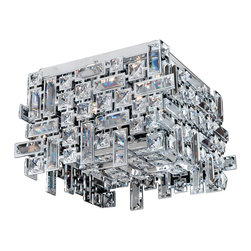 4 Light Square Crystal Flush Mount Light In Chrome Finish With Clear Crystal
