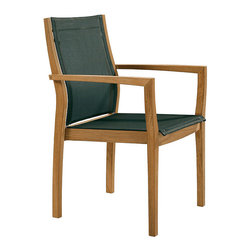 "Frontgate - Horizon Outdoor Teak and Sling Outdoor Dining Chair, Patio Furniture - Textilene sling will not stretch or fade, even after thousands of hours in the sun.23""W x 23""D x 35""H, 14 lbs."