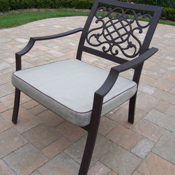 Oakland Living - Chat Chair with Cushion - Set of 4 - Set of 4. Includes metal hardware. Lightweight and handcast. Fade, chip and crack resistant. Hardened powder coat. Warranty: One year limited. Made from stone and iron. Coffee color. Assembly required. 25 in. W x 26 in. D x 28.5 in. H (17 lbs.). Overall weight: 48 lbs.Our chat chairs sets will be a beautiful addition to your patio, balcony or outdoor entertainment area. Chat chairs are perfect for any small space, or to accent a larger space. The Oakland Stone Art Collection combines natural stone and modern designs giving you a rich addition to any outdoor setting. The solid and sturdy yet trendy designs of the Oakland Stone Art collection will be the talk of your neighborhood.