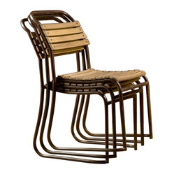 BoBo's Intriguing Objects - Wood Slatted Stacking Chair - Why scramble for seating every time you entertain? These wood and iron chairs look great and feature contoured slats for comfort. And when the party's over, they really stack up.