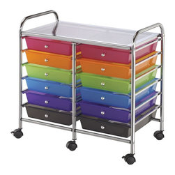 Alvin and Company - Tubular Steel Castered Storage Cart with 12 M - Showcase your own personal design style while creating functional storage space in your office, studio or classroom with this durable tubular steel storage cart, on casters for easy mobility. The cart features 12 multicolored storage drawers in durable plastic with molded stops to keep them in place. Unique patented interlocking rail and drawer system that prevents shifting off the rails. Carts have 6 casters (2 locking). Double-wide carts (12-drawer and 20-drawer units) have middle leg supports and casters for added stability, with six casters (three locking). Molded stops on drawers prevent drawer from pushing through the back of cart. Each drawer can hold up to 3 lbs.Standard drawer inside bottom:. 16.63 in. L x 11.63 W x 2.5 in. HDeep drawer inside bottom:. 16.875 in. L x 9.75 in. W x 5 in. H. (3-drawer and 6-drawer units)