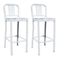 New Buffalo Corp. - Amerihome 2-Piece Metal Counter Height Chair Set - White - This Amerihome Bar Height Metal Chair Set in White is durable enough for use in the shop, and stylish enough to use in the kitchen, game room, bar, basement, dorm room, or loft. The Bar Height Metal Chairs have a modern, industrial style, with clean lines and a simple elegance, which will look great in the dining room or on the patio. The chairs arrive fully assembled, so they are ready to use as soon as they arrive. Lightweight and sturdy, each chair weighs only 20 lbs., but is strong enough to hold up to 530 lbs.
