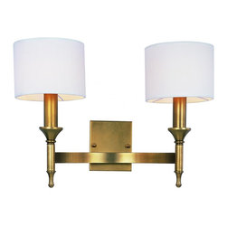 Joshua Marshal - Two Light Natural Aged Brass Wall Light - Two Light Natural Aged Brass Wall Light