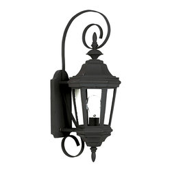 Design Craft - Oscar Small Antique Patina Wall Lantern - The antique patina or rich black finish of Oscar will grace any size manor. With clear glass panels,the wall-mounted lanterns feature sinuous decorative brackets,adding scale and refinement to your entryway.