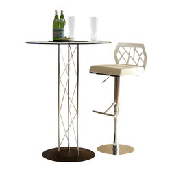 Euro Style - Trave 3 Pc Chrome & Glass Bar Table & White S - Both elegant an innovative with an urban edge, this contemporary bar table set will be an eye catching addition to any decor. Perfect for home or commercial use, the set includes a glass topped table with metal base and two adjustable swivel stools with laser cut MDF backs. Set includes 1 Table and 2 Stools. Chromed steel tube column is 41 in. high, chromed base plate is 19.75 in. diameter. Round glass top - 3/8 in. thick, with pencil edge polish. Stylish Laser Cut Back. Leatherette seat, laser cut wood veneer back with chrome base. Adjustable height for bar or counter. Made of MDF/Leatherette/Chrome. White/Chrome/Black. Warranty: 1 year. Tools for Assembly Included. Some Assembly Required. Table: Assembly Instructions. Stool: Assembly Instructions. Base Plate: 19.75 in. W x 19.75 in. L (13.2 lbs.). Bar Table Leg: 41 in. H (5.28 lbs.). Glass Top: 32 in. W x 32 in. L (25.2 lbs.). Stool: 20 in. W x 18 in. D x 31-41 in. H (46 lbs.).