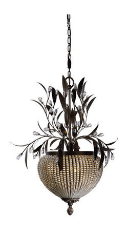 Uttermost - Uttermost 21004 3 Light Chandelier from the Cristal De Lisbon Collection - Uttermost 21004 Carolyn Kinder Cristal De Lisbon 3-Lt ChandelierRows of crystal beads fill the channels of the narrow ribs, and bouquets of the same cut crystals spill over the edges, their rich unique color catching the light in both the prisms and also in the beading.Features:
