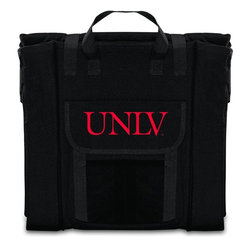 Picnic Time - Unievrsity of Nevada Las Vegas Stadium Seat in Black - The Stadium Seat is ideal for anyone who enjoys sporting events, concerts, or other arena activities. This padded seat is made of durable 600D polyester and provides maximum seat support, which is especially useful when sitting on hard bleacher seats or benches. EPE foam in the seat's core also insulates your seat from cold bleachers. A large zippered pocket keeps all of your essentials within reach. Convenient carry straps allows the seat to be carried as a folded tote. You'll want to take the Stadium Seat to every spectator event to ensure your seating comfort.; College Name: Unievrsity of Nevada Las Vegas; Mascot: Rebels; Decoration: Digital Print