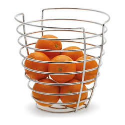 Blomus - Wires Fruit Basket - Made of metal-wire, Chrome plated. Designed by Floz Design. 1-Year manufacturer's defect warranty. 10 in. Dia. x 9.48 in. H