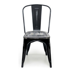 Inmod - Bastille Cafe Stacking Chair - Antique Black (Set of 2) - You will want to shout ��_c��_est magnifique!��_ when your eyes fall upon the Bastille Cafe Stacking Chair (Antique Black w/ Wood Seat).