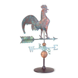 Renovators Supply - Weathervanes Verdigris Copper Rooster Weathervane On Garden Base | 19418 - Rooster Weathervane. Daybreak Rooster Weathervane on Desktop on Gaerdden stand for an interior decorative piece or outdoor accent. Handcrafted of 100% copper our weathervanes are full-bodied figures of superior quality unlike machine stamped ones that are made from lesser quality copper sheets. Comes with a Verdigris finish there is no need to wait 5 to 10 years for that luxurious aged patina. Includes brass stand, globe spacers and brass cardinal points (N, S, E, W). Measures overall 51 1/2 inch h x 23 1/4 inch w.
