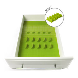 KMN Home - DrawerDecor, Deluxe Starter Kit, Lime - End drawer clutter in minutes with this colorful non-slip Basemat and repositionable organizer. Unlike generic utensil organizers that require you to choose a single size, DrawerDecor uses a non-slip silicone Basemat and repositionable pieces called Divitz. They're completely adjustable! In fact, this 21-piece system can quickly be trimmed to fit any size drawer. 20 Divitz in three (3) sizes naturally adhere to the Basemat, securing items and preventing sliding. Easy to clean and food-grade safe! Great for kitchen utensil drawers, desks, tools and much more. A variety of colors are available to match any decor.