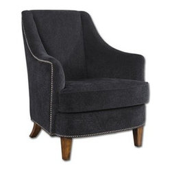 """Uttermost - Uttermost 23002 Nala Midnight Armchair In Black - Midnight black lounge chair has plush fabric with subtle swirl sculpting, nail head trim and sunwashed pecan finished legs. Reinforced hardwood construction with removable seat cushion. Light assembly. Seat height is 19""""."""