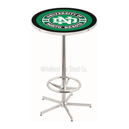 Holland Bar Stool - Holland Bar Stool L216 - 42 Inch Chrome North Dakota Pub Table - L216 - 42 Inch Chrome North Dakota Pub Table  belongs to College Collection by Holland Bar Stool Made for the ultimate sports fan, impress your buddies with this knockout from Holland Bar Stool. This L216 North Dakota table with retro inspried base provides a quality piece to for your Man Cave. You can't find a higher quality logo table on the market. The plating grade steel used to build the frame ensures it will withstand the abuse of the rowdiest of friends for years to come. The structure is triple chrome plated to ensure a rich, sleek, long lasting finish. If you're finishing your bar or game room, do it right with a table from Holland Bar Stool.  Pub Table (1)