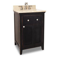 "Hardware Resources - Lyn Design VAN093-24-T, Light Marble Top - This 24"" wide solid wood vanity features a clean shaker design in a warm Aged Black finish. With a top drawer fitted around plumbing and spacious cabinet with adjustable shelf, there is plenty of storage space. Drawers are solid wood dovetailed drawer boxes fitted with full extension soft close slides, and cabinet features integrated soft close hinges. This vanity has a 2.5 cm engineered Emperador Light marble top preassembled with an H8809WH (15"" x 12"") bowl, cut for 8"" faucet spread, and corresponding 2 cm x 4"" tall backsplash. Overall Measurements: 24"" x 22"" x 36"" (measurements taken from the widest point)"