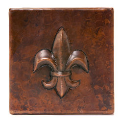 "Premier Copper Products - Premier Copper Products T4DBF 4"" x 4"" Copper Fleur De Lis Tile - 4"" x 4"" Copper Fleur De Lis Tile"