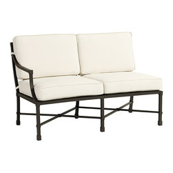 """Ballard Designs - Suzanne Kasler Directoire Left Arm Loveseat - Includes indoor/outdoor Basic Stone Box Edge Cushion. Deep Chocolate finish. Powder-coated to resist rust, fading & chipping. Coordinates with the Suzanne Kasler Directoire Dining & Lounge Collections. Fully assembled. In this timeless collection, designer Suzanne Kasler captures the simple, elegant spirit of the Directoire style with classic """"X"""" detailing and crisp contours. The Armless Left Loveseat works with the Corner and Right Arm Loveseat to create a sectional. Each Directoire piece is finely crafted of aluminum, making it extremely durable and easy to place. Armless Left Loveseat features: . . . . ."""