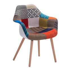Zuo Modern Contemporary, Inc. - Safdie Occasional Chair Patchwork Multicolor - With a fashion forward multi-color and multi-pattern patchwork, The Sadfie Chair is a fun statement piece for any space.  It sits on walnut legs and is constructed from a plastic inner shell.  This chair will wow all those see it!