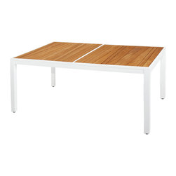 """Mama Green - Allux Dining Table, Wood-White, 63""""x39"""" - The Allux Dining Table is a powder coated aluminum framed dining table with an acid etched underside painted glass top. This table can be customized to fit any space dimensionally."""