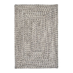 Colonial Mills, Inc. - Indoor/Outdoor Corsica Silver Shimmer Rug, 5' x 8' - Stop worrying. Don't you need a little classic style underfoot? Gray and white braids are woven into a rectangular pool of silver to give your floors shimmer. In fact, use it poolside. It's woven in worry-free polypropylene, so it's fade and stain resistant and reversible for long-lasting comfort, color and beauty.