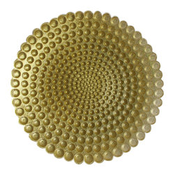 Jay Import Co. - Pearl Charger Plate, Gold - The spirals of pearls on this charger plate will entrance any diner with beauty and form.  Grace your table with this glass dinnerware to bring spherical order to your evening.