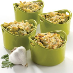 Rachael Ray - Rachael Ray Bubble & Brown Stoneware 10 oz. Ramekin Bakeware Set - Green - 55227 - Shop for Souffle Dishes & Ramekins from Hayneedle.com! Pretty in green with a fun flared shape the Rachael Ray 55227 Bubble & Brown Stoneware 10 oz. Ramekin Bakeware Set - Green will be a favorite among your dinner guests. Shallow sides produce crunchy tops and each ramekin has a 10-oz. capacity perfect for individual portions. The glazed nonporous interiors prevent foods from interacting and the flared handles give you a secure grip. This set includes 4 ramekins each measuring 9L x 5W x 3H inches. They're oven safe to 500 degrees microwave and freezer safe and dishwasher-safe for easy cleanup. Additional Features: Flared handles for secure grip Oven safe to 500 degrees F Versatile and convenient Microwave and freezer safe Dishwasher-safe for easy cleaning About Rachael RayRachael Ray has built a name for herself with a popular talk show a new magazine and a cookbook that reached #1 on the New York Times best seller list. She says that cooking is a way of life and her philosophy shows in her collection of practical yet fun and unique cookware. Each piece in the collection is stamped with Rachael's signature style and the beautiful shapes and vibrant colors will make this cookware a great addition to any kitchen.