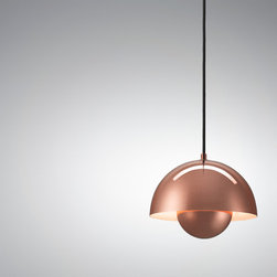 Verner Panton: Panton Flowerpot VP1 Pendant Lamp - Copper - Panton Flowerpot VP1 Pendant Lamp by Verner Panton from Stardust.  The Verner Panton Flowerpot VP Lamp, designed in 1969, was named after the happy days of Flower Power.  An object cannot become a design icon until it has stood the test of time and appears quite naturally in different settings, giving it a symbolic aura of its own. The Panton FlowerPot from Stardust has done just that. Of the lamps Verner Panton designed, FlowerPot VP1  stands out as some of the simplest and most memorable designs from the Verner panton collection at Stardust.
