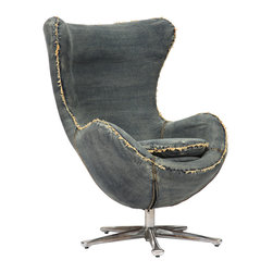 ZUO ERA - Winchester Armchair Blue Denim - Inspired by mid-century design, the Winchester armchair is the perfect blend of comfort and design. The body is wrapped in a denim fabric and the base is 100% chrome.