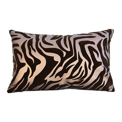 Bijou Coverings - Zebra-Pattern Faux-Leather Throw Pillow, Brown on Brown - The animal print woven faux leather pattern on this pillow creates a simple yet luxurious statement. This beautiful design would be a great accent on a side chair or couch mixed with a collection of contrasting patterns. The pillow is filled 100% polyester insert.