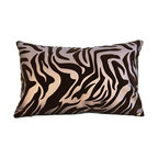Bijou Coverings - Zebra Pattern Faux Leather Decorative Throw Pillow, Brown on Brown, 10x16 - The animal print woven faux leather pattern on this pillow creates a simple yet luxurious statement. This beautiful design would be a great accent on a side chair or couch mixed with a collection of contrasting patterns. The pillow is filled 100% polyester insert.