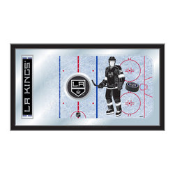 "Holland Bar Stool - Holland Bar Stool Los Angeles Kings Hockey Rink Mirror - Los Angeles Kings Hockey Rink Mirror belongs to NHL Collection by Holland Bar Stool The perfect way to show your team pride, our hockey rink mirror displays your team's symbols with a style that fits any setting.  With it's simple but elegant design, colors burst through the 1/8"" thick glass and are highlighted by the mirrored accents.  Framed with a black, 1 1/4 wrapped wood frame with saw tooth hangers, this 15""(H) x 26""(W) mirror is ideal for your office, garage, or any room of the house.  Whether purchasing as a gift for a recent grad, sports superfan, or for yourself, you can take satisfaction knowing you're buying a mirror that is proudly Made in the USA by Holland Bar Stool Company, Holland, MI.   Mirror (1)"