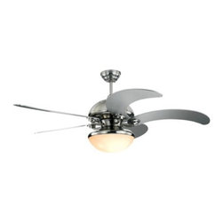 Montecarlo - Montecarlo Centrifica Ceiling Fan in Brushed Steel - Montecarlo Centrifica Model 5CNR52BSD in Brushed Steel with Silver Finished Blades. Centrifica Light Kit comes with Matte Opal Glass.