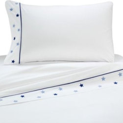 Whistle & Wink - Whistle & Wink High Seas Twin Sheet Set - Sheet set with embroidered nautical stars adorning the cuff of the pillowcase and flat sheet will add to the excitement of the High Seas quilt. 100% cotton with a 240 thread count.