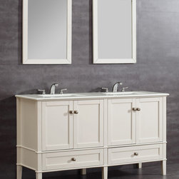 WyndenHall - Windham Soft White 60-inch Bath Vanity Set - The defined by its soft white lacquer finish,this vanity has brushed nickel rounded square knobs signifying a casual contemporary look. This beautiful assembled vanity provides plenty of space with 4 doors and 2 bottom drawers.