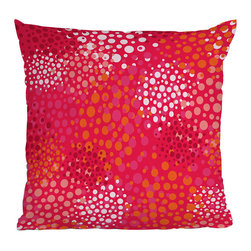DENY Designs - DENY Designs Khristian A Howell Brady Dots 2 Throw Pillow - Your home deserves better. Give your house some love with the vibrantly fun DENY Designs Khristian A Howell Brady Dots 2 Throw Pillow. Each pillow is printed with a fade-resistant special dye printing process for long-lasting color and comfort. Make a bold statement while supporting art: DENY works with artists and art communities around the world to create custom home decor accessories. A concealed zipper makes this throw pillow easy to clean while the eye-catching pink, white, and orange design transform any couch or bed from ordinary to extraordinary.Custom printed to orderFade resistantWoven polyester coverConcealed zipper6-color dye processKhristian A Howell collection