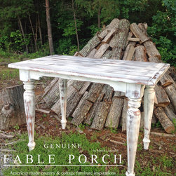 "Country & Cottage Farmhouse Dining Tables - One question we get, ""Do you build bar height tables?"" Why, yes, we do! Pictured is our Cristo Bar Table, 36 x 60 x 42, with an optional 1.50"" thick, authentic planked top and an optional Waldo-Classic apron cut-out. The finish is Picket Fence-Outer Banks Coastal with Winter distressing."