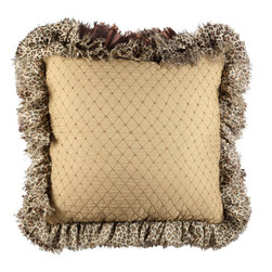 Brandi Renee Designs - Cream Shimmer Black and White Cheetah Ruffle - With crisp neutrals and sophisticated details, this shade of beige can be just as fabulous as any color.  The soft polyfill insert offers gentle support, making for a comfortable addition to the bedroom or sitting area. You will fall head over heels in love with the quilted diamond fabric and cheetah print ruffle trim. It has classic texture and natural coloring that will suit just about any living space.